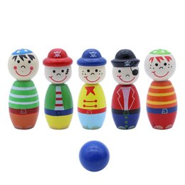Опт Wooden Bowling Play Sets Игры для боулинга Развивающая игрушка для детей Дети