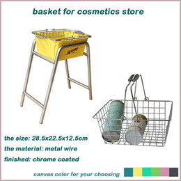 metal wire fruit basket with different canvas chrome coated sewing basket with your logo shopping bakset for makeup on Sale