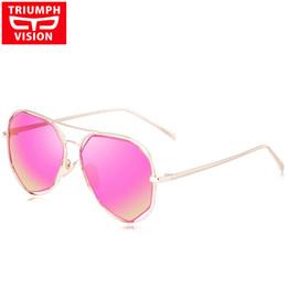 93e31b9fc53ae TRIUMPH VISION Gafas de sol polarizadas Mujer Pink Mirror Brand 2017 Pilot  Polar Gafas de sol para mujer Metal Shades estilo femenino