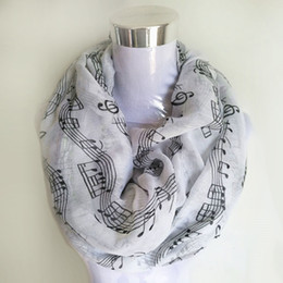 Music Note Print Scarf NZ - Navy bule Musical Notes winter Infinity Scarf Women music shawls and scarves foulard bufandas mujer 2017 echarpes foulards femme