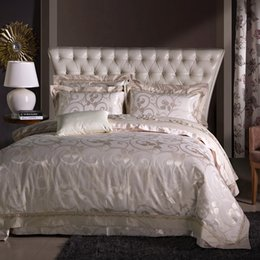 Chinese Jacquard Bedding NZ - Chinese Embroidered Jacquard bedding set luxury satin fabric bed linens soft warm duvet cover 4 5 pc queen king size women decor