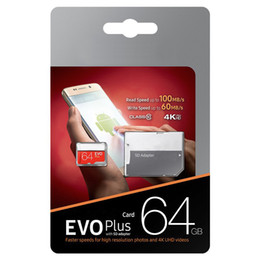 Wholesale New arrival Black EVO Plus + 64GB 128GB 256GB Class 10 Free SD Adapter Retail Blister Package Epacket DHL Free Shipping