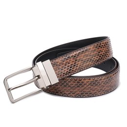 $enCountryForm.capitalKeyWord UK - Mens Luxury Fashion Trend Designer Genuine Leather Natural Snake Business Waist Belt Male Formal Wear Buckle Belt For Gift Wholesale