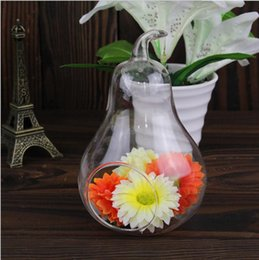 8pcs Modern Home Decor Pear Crystal Vas Flower Water Plant Hanging Vase  Container Pot Indoor Office Wedding Indoor Hanging Vase