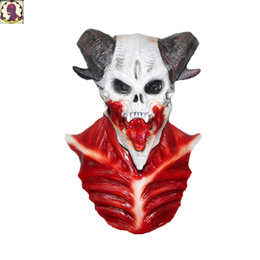 Discount zombie masks - 2018 New Style Hot Sales Vivid Bloody Skeleton Horror Zombie Masks Latex For Halloween Party Decoration Props