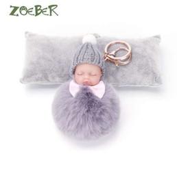 China ZOEBER Sleeping Baby Doll Keychain Pompom Rabbit Fur Ball Key Chain Car Keyring Women Key Holder Bag Pendant Charm Accessories suppliers