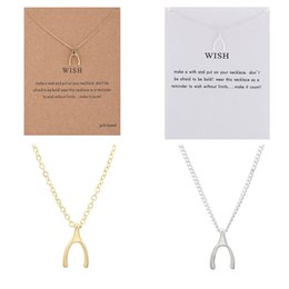 $enCountryForm.capitalKeyWord Australia - Hot Gold Silver Mix Thanks Wishbone Fishbone Necklace Alloy Short Clavicle Chain Pendant Choker for Friends Girls Women Birthday Gift Dogear