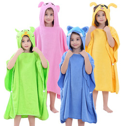 a6e559e221 Warm Boys Girls Bathrobes Hooded Bath Towel Cartoon Elephant Bee Frog Cloak  Cotton Kid Home Blanket 42 88ey hh