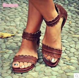 1pcs Brown plus Size Gladiator Lace back zipper flat with Roman styles sandals  casual cheap female open toe PU sandals loafer 14e83a19e26