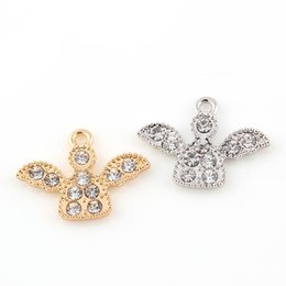 Discount crystal angels - 25*18mm Silver Crystal Angel Wings Charms Pendants Jewelry Making Accessories Diy Jewelry Findings