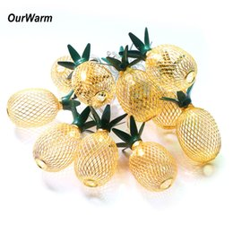 PineaPPle led light online shopping - Birthday Ourwarm Metal m Led String Lights For Hawaiian Party Decoration Drop Pineapple String Lights For Birthday Wedding Party
