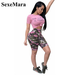 pink camo t shirts NZ - wholesale Camouflage Pink Two Piece Set Summer Outfits T Shirt Crop Top and Camo Shorts Set Sexy Tracksuit Matching Sets D41-AD42