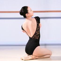 9fe9f69c45b1 Sexy Lace Low Back Short Sleeve Ballet Leotard Women Adult Girls Cotton Gymnastics  Dance Leotard Ladies Bodysuit Slim
