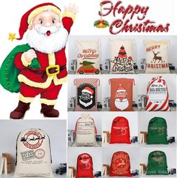 Discount dot string - Christmas Large Canvas Monogrammable Santa Claus Drawstring Bag With Reindeers Monogramable Christmas Gifts Sack Bags Ha