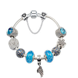 snowflake jewelry crystal set NZ - European charm beads 3MM snake chain suitable for ladies Pandora style blue glass beads crystal snowflake pendant bracelet jewelry