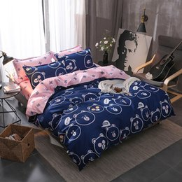 Wholesale Cartoon Cute bear face prints bedding sets bedspreads single twin full queen king size Children s girls bed blue pink bedclothes