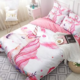 Discount pink floral full size bedding - Unicorn Floral Cartoon Bedding Set Pink Girl Cute Duvet Cover Sets 3PCS Twin Full Queen King Size Quilt Cover Set Girls