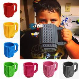 Kids Blocks Wholesale Australia - 350ml DIY Block Puzzle Mug Drinkware Building Blocks Mugs 10 Colors Brick Mug 1Piece Build-On Brick Creative Mug Coffee Cup LA615-2
