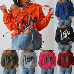 Wholesale valentine hoodie online – oversize 10 Colors Big Kids LOVE Letter Printed Long Sleeve Off Shoulder Hoodies Valentines Clothing Sweatshirt Outwear Maternity Tops CCA8757
