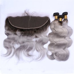 Brazilian Human Hair Ombre Grey NZ - 1B Grey Dark Roots Ombre Brazilian Hair Bundles with Lace Frontal Closure 1B Gray Ombre Body Wave Human Hair Weaves with 13X4 Frontal