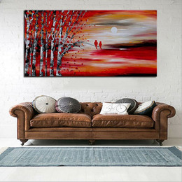 modern floral oil paintings Canada - Large Knife Natural Trees Scenery Canvas Paintings Modern Abstract Home Wall Art Picture Hand Painted Red Landscape Oil Painting