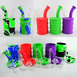 """Silicone Barrel Bong NZ - Barrel Silicone Bong Water Pipes 9"""" inch Portable Camouflage Silicone Oil Rigs Detachable Hookahs Unbreakable Smoking Oil Concentrate Pipe"""