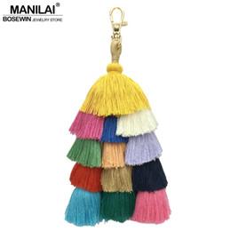 $enCountryForm.capitalKeyWord NZ - Cheap Key Chains MANILAI Handmade Weave Boho Bag Pendant Women Accessories Charm Keychain Fashion Multicolor Cotton Tassels Key Chain