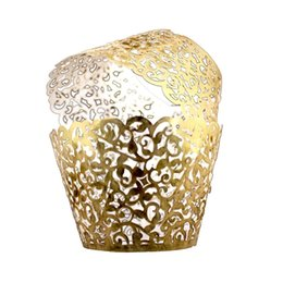 China Vine Cupcake Holders Filigree Vine Designed Decor Wrapper Wraps Cupcake Muffin Paper Holders - 50pcs (Bright Gold) cheap vine designs suppliers