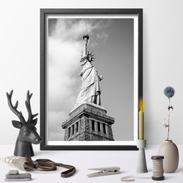 statue liberty wall art 2019 - Modern Poster And Print Black And White Statue of Liberty Canvas Painting Wall Art Pictures Living Room Home Decor cheap
