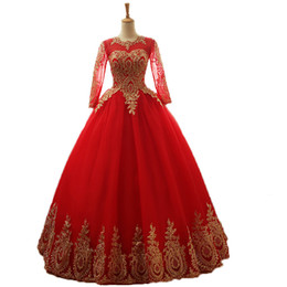 $enCountryForm.capitalKeyWord UK - Fashion Real Photo Applique Lace Long Sleeves Wedding Dresses Red Blue Tulle Arabic Wedding Gowns Sexy Custom Made Bride Dresses 2018