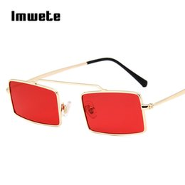 $enCountryForm.capitalKeyWord Canada - Imwete Small Rectangle Sunglasses Women Brand Designer Men Metal Frame Sun Glasses Female Vintage Tiny Red Pink Eyewear Shades