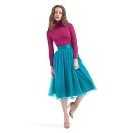 d4bd10fa498 Teal 2018 Soft Tulle Skirts Women Satin Waistband Length Bridesmaid Tulle  Skirt Faldas Saia 2018 Jupe Femme Custom Made