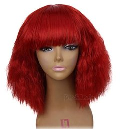 Chinese  Free Shipping 12 inch Short kinky Straight with bangs Bob Wigs Cosplay Red Grey 29 colors for Costume Wig for Women Party manufacturers