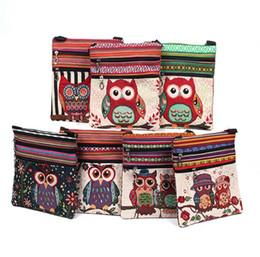 $enCountryForm.capitalKeyWord NZ - Canvas Owl Shoulder Bags cartoon Casual Messenger bag Owl folk-custom Striped bag 5 style top quality