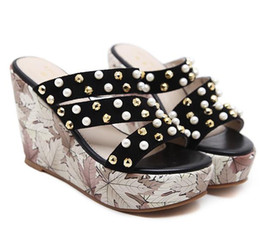 6f249657b7b Chic printed rivets strappy high heel platform wedges slipper sandals ladies  summer shoes 2018 size 34 to 39