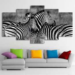Zebra Print Art Australia - HD Printed 5 Piece Canvas Art Zebra Couple Large 5 Panel Canvas Art Wall Pictures for Living Room Free Shipping
