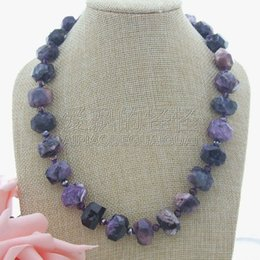 "$enCountryForm.capitalKeyWord Australia - N050606 20"" Faceted Purple Charoite Nugget Necklace"
