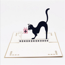 Postcard greeting cards online shopping - Happy Birthday Greeting Card D Pop Up Mouse Cat Postcard Cartoon Comic Children s Day Kids Gift Originality zy bb