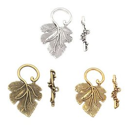 Leaf Connector Wholesale Australia - 60sets Leaf Toggle Clasps Connectors For Jewelry Making Silver Gold Bronze Copper Accessories For DIY Bracelet Necklace