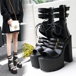 Ankle Strap Sandals Pu Leather NZ - 14cm Super high platform chunky heels shoes black gladiator sandals with buckles women black PU leather shoes 2018 size 34 to 39