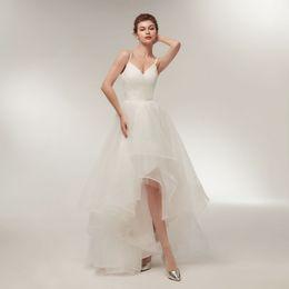 China Elegant Summer Wedding Dresses With Straps Sexy V Neck Hi Lo Wedding Gown 2018 Bridal Dress Custom Made Tulle Dress cheap vintage sleeveless wedding dress suppliers
