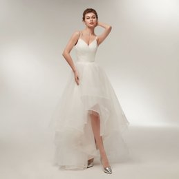 Элегантные Летние Свадебные Платья С Ремешками Sexy V Шеи Привет Lo Свадебное Платье 2018 Свадебное Платье На Заказ Тюль Платье