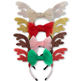 Holiday Hair Australia - baby girls Christmas and holiday deer Headbands cartoon antlers Sequin hair accessories 4 colours 2018 hot sell
