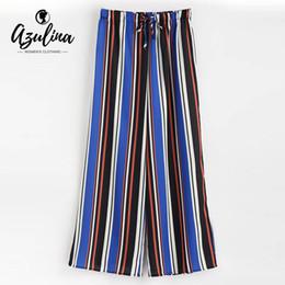 cd80b04ab9a75 20187 AZULINA Drawstring Stripes Wide Leg Pants Women Pant Female Summer  Pants Loose Long Ladies Trousers High Waist Casual Clothing