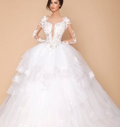 0d0378ae67 romantic backless long sleeve wedding dresses 2018 appliques lace ball gown  tulle women bridal marry gown for party vestidos