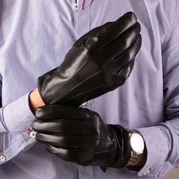 Men Gloves Leather Sheepskin Australia - Fashion Men Autumn Real Sheepskin Leather Gloves Wrist Solid Warm Plus Velvet Warm Driving Gloves For Male Mittens Free Shipping