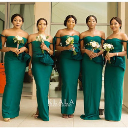 emerald black wedding dress Canada - 2019 Emerald Off The Shoulder Bridesmaid Dresses Mermaid Elastic Silk Like Satin Mermaid South Africa Style Maid Of Honor Wedding Guest Gown