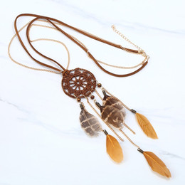 Leopard saLe online shopping - Lady Sweater Necklaces Handmade Dream Catcher Leopard Feather Necklace Fashion Jewelry Pendant Novel Gift Hot Sale nt T