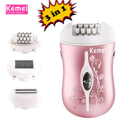 $enCountryForm.capitalKeyWord Canada - kemei rechargeable 3 in 1 lady epilator electric hair remover device depilador hair shaver removal for women foot care tool
