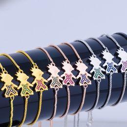 $enCountryForm.capitalKeyWord Australia - Wholesale Handmade Jewelry Accessories Inlaid Multicolor Bangle Zircon Boy Girl Kids Figure Charm Bracelet Trendy Jewelry Chain Bracelets